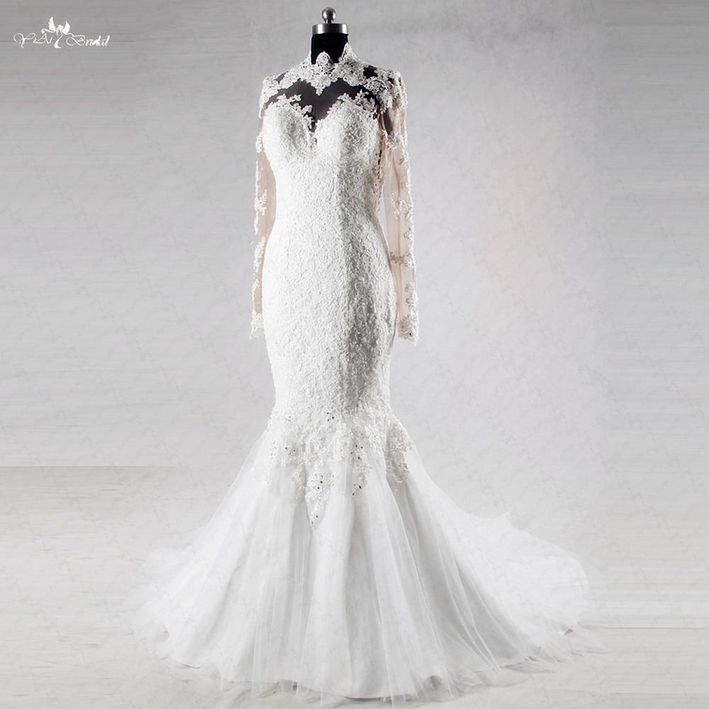 RSW1011 Heart Shape Sexy Backless Mermaid Long Sleeve Lace Wedding Dress e9c78d99f9be