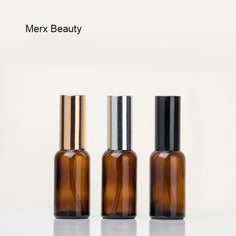 10 100 ml 1 ctn oro argento nero a spruzzo emulsione testa tan flaconi contagocce di Vetro Bottiglie di Olio Essenziale di Cosmetici Contenitore di viaggio
