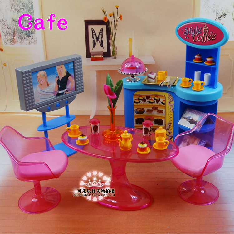 New girl birthday gift plastic play set furniture living for Barbie living room furniture set
