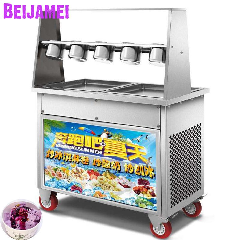 BEIJAMEI double compressor square pan 35cm thailand fried ice cream machine electric ice cream roll making for sale