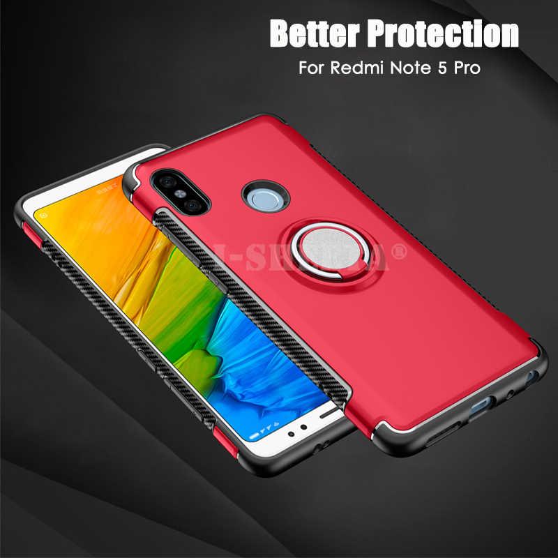 Funda a prueba de golpes para Xiaomi Redmi Note 7 5 6 Pro soporte para coche soporte 360 anillo de succión magnética híbrido duro PC suave TPU cubierta