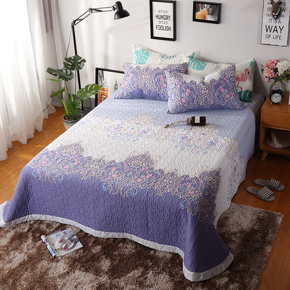 2018 Purple Bohemian Flowers Quilting Bedsheet Print Cotton Stitching Bedlinens Coverlet 3pcs Bedspread Set Pillowcases2018 Purple Bohemian Flowers Quilting Bedsheet Print Cotton Stitching Bedlinens Coverlet 3pcs Bedspread Set Pillowcases