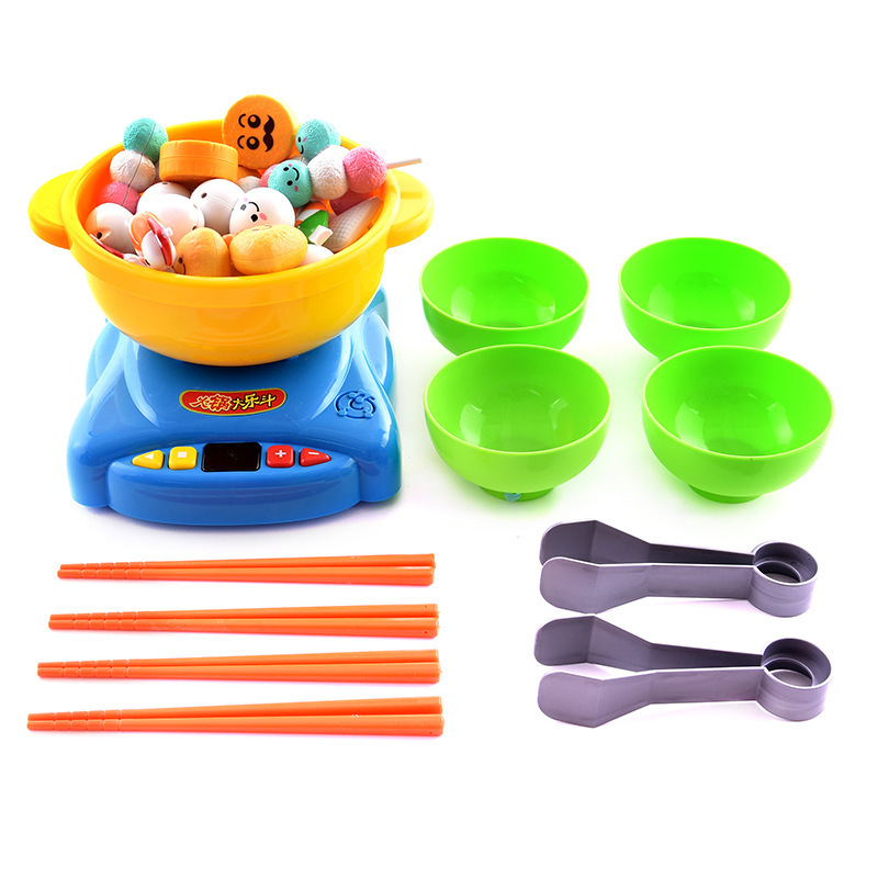 Kitchen Toy Kid Pretend Food Induction Cooker Cookware Tool Set Clip Food Simulation Hot Pot Four Player Game