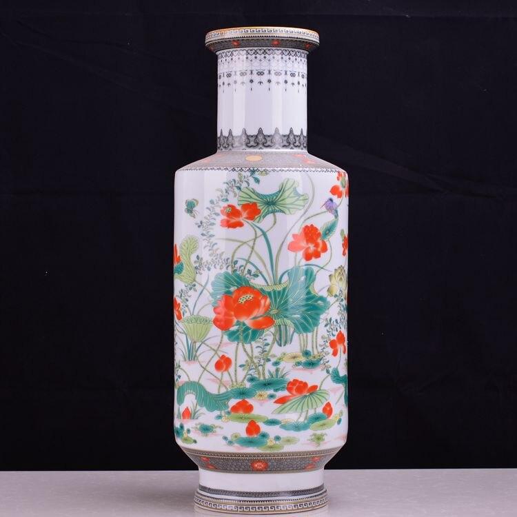 Jingdezhen vase en céramique salon décoration artisanat atterrissage pastel beizitou neige rétro décor paquet mail