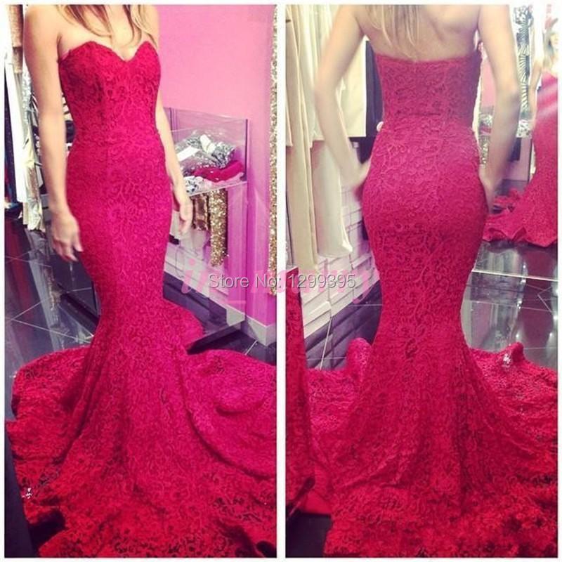 Mermaid largo rojo de encaje vestido de noche vestido de fiesta sin ...