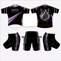 Men Anime Sword Art Online Kirito SAO Bike Riding Outfits Sports Wear Tights Set Cycling Jersey