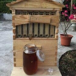 Kayu Sarang Lebah Kotak dengan 7 Sarang Lebah Rentang Peralatan Memelihara Lebah Madu Self Flowing Beehive Rumah Sarang Lebah Perlengkapan Pemelihara Lebah Peralatan