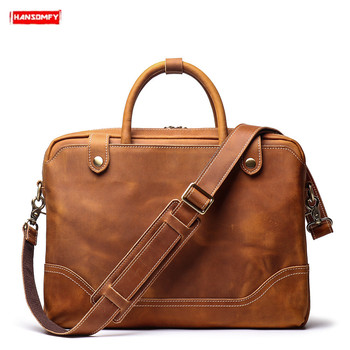 New men's portable briefcase first layer leather shoulder diagonal bag business 15.6-inch computer bag brown leather briefcases