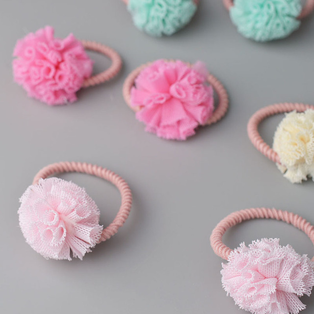 2pc lot Girls  Cute Tulle Pom Pom Hair Tie Bands Ropes Ponytail Holder Hair  Clip Barrette Hair Accessories A79 79920e76249