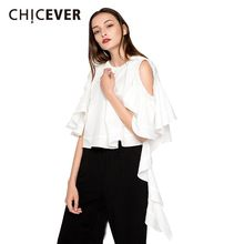 CHICEVER Hollow Out Butterfly Sleeve White Women's Blouse Shirt Off Shoulder Sexy Tops Female Casual Clothes Korean Large Sizes(China)
