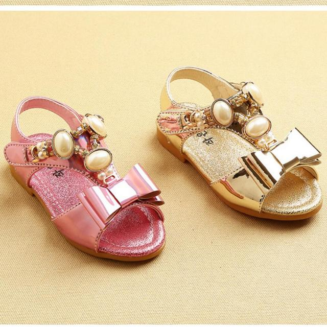 New 2016 Sweet Cute Pearl Baby's Beading Bowtie Lace Rhinestone Girls Sandals Soft Princess Children Shoes for Summer