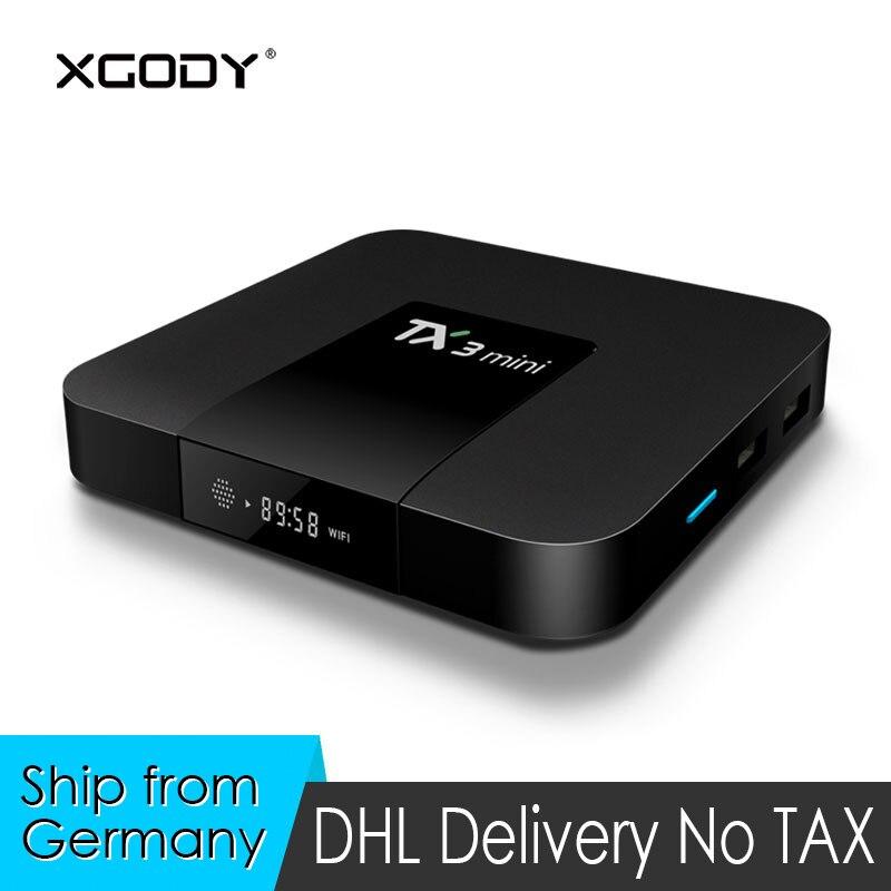 XGODY TX3 Mini Smart TV Box Android 7.1 Nougat S905W Quad Core 2G+16G Kodi Media Player 4K HD TV Streamer Receiver Set-top Box