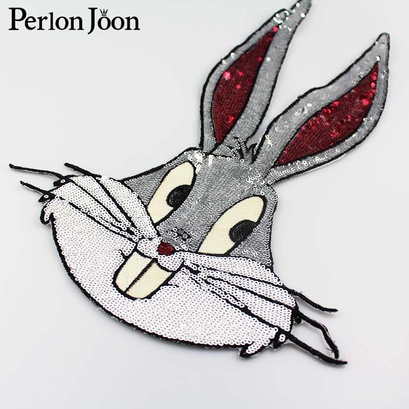 Bugs Bunny lentejuelas Gran parche conejo apliques bordados ropa de ...
