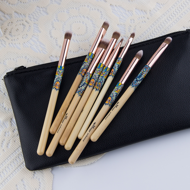 8pcs Bamboo Cosmetic Brushes Wood Handle Brushes For Makeup With Black Bag
