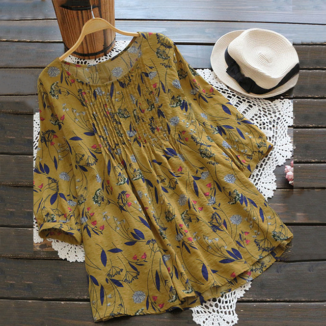 0f67cc818aa Women Floral Print Shirt ZANZEA 2018 Summer Boho Blouse Loose Linen Cotton  Top 3 4 Sleeve Blusa Feminina Casual Camisa Plus Size
