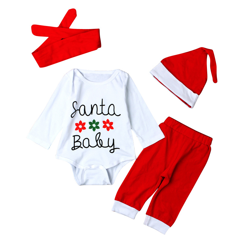 2016 Christmas Baby Girls Clothing Santa Claus Baby Rompers