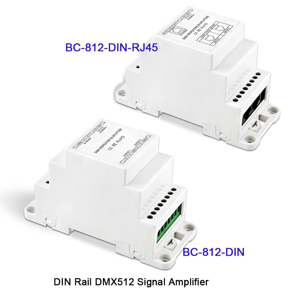 Treu Bc-812-din/bc-812-din-rj45 Dc12-24v Din Schiene Dmx512 Signal Verstärker Ein Eingang Kanal Dimmer Zwei Ausgangs Kanäle Led Controller HüBsch Und Bunt