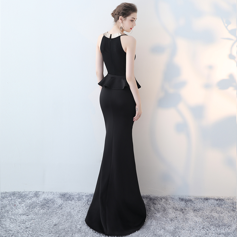2017 New Arrival Halter Black Sleeveless Mermaid Evening Dress Robe De  Soiree Sexy Modern Sexy Elegant Prom Dress Vesta De Festa ef7b033ff727