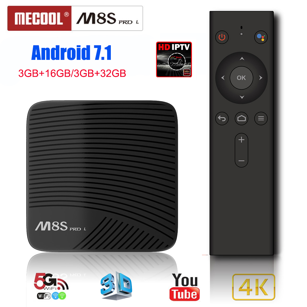 Mecool M8S PRO L Smart TV Box Android 7.1 box tv Amlogic S912 3 GB 16 GB commande vocale 5G Wifi décodeur français iptv pk km9