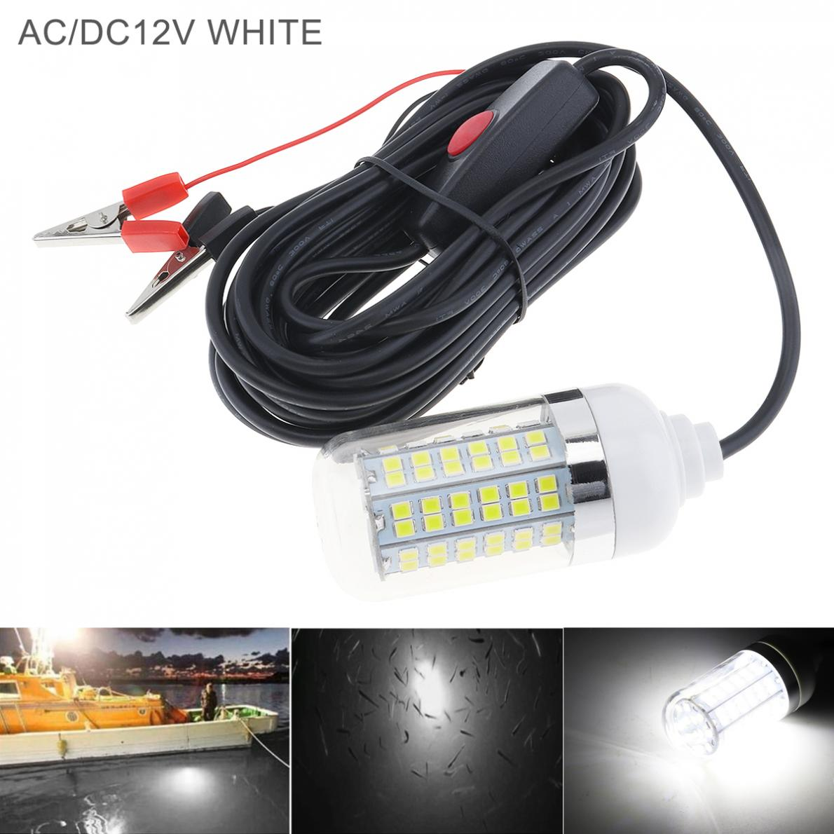 15W 12V Fishing White Light 108pcs 2835 LED Underwater Fishing Light / Lures Fish Finder Lamp Attracts Prawns / Squid / Krill