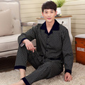 2016 Autumn Mens Pajamas Knitted Cotton Men Pajama Sets Full Sleeve Pyjamas Sleepwear Casual Sleep Lounge Plaid Pijama 095