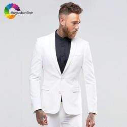 Белый индивидуальный заказ Мужские свадебные костюмы 2018 шаль нагрудные Slim Fit повседневное классические смокинг Best Мужской Блейзер 2 шт. Terno