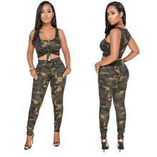 8482bf16a1be New Come Women Jumpsuit Two Piece Camouflage Print Bodysuit Women Overalls  Hollow Body Mujer L0186(