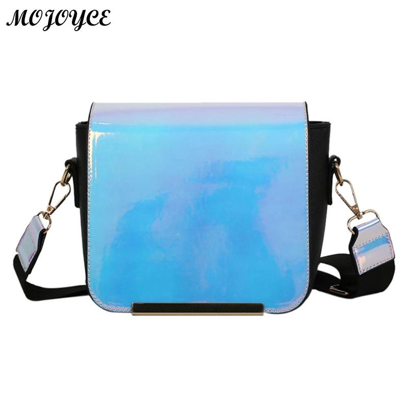 Women Holographic Laser Handbag Fashion Design Girl Messenger Bag Female Highg Quality PU Leather Flap Shoulder Bag Shopping Bag