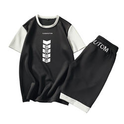2018 мужские костюмы комплект одежды из 2 предметов Летняя мужская Спортивная спортсмен носить о-образным вырезом с коротким рукавом человек