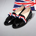 Plus Size 34-42 genuine leather round toe flat heel bowtie design Patent Leather office ladies shoes women flats Casual Shoes