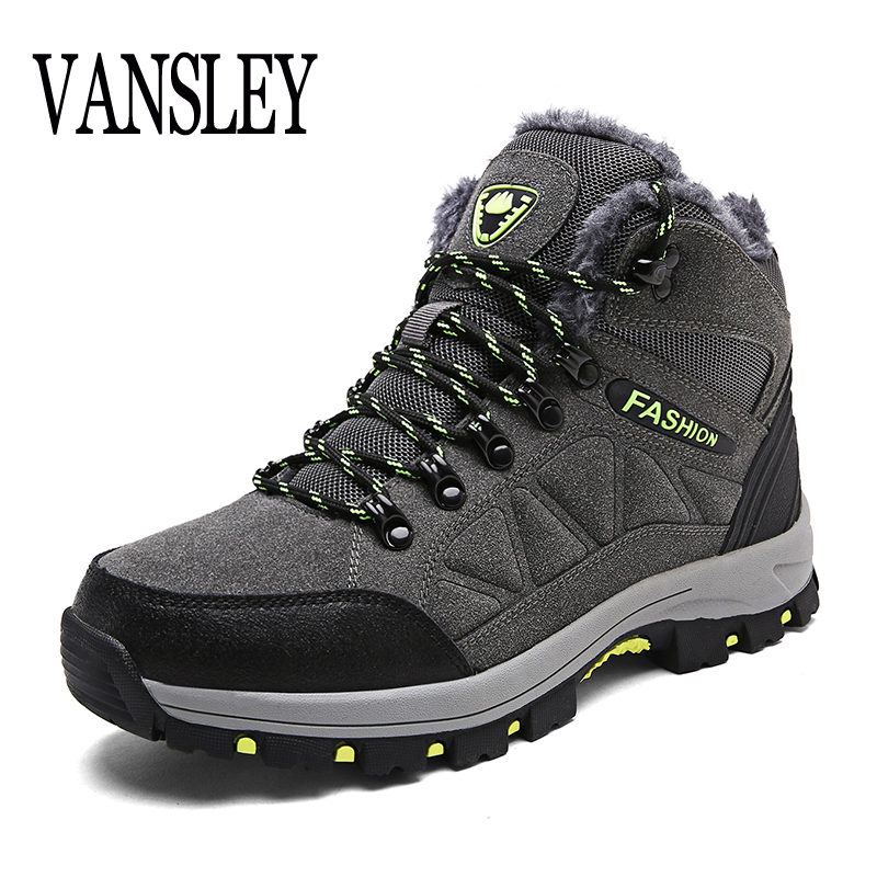 Designer Winter Fur Snow Men Boots Autumn Non-slip Rubber Sole Men Black Ankle Boots Tactical Waterproof Men Shoes Footwear france tigergrip waterproof work safety shoes woman and man soft sole rubber kitchen sea food shop non slip chef shoes cover