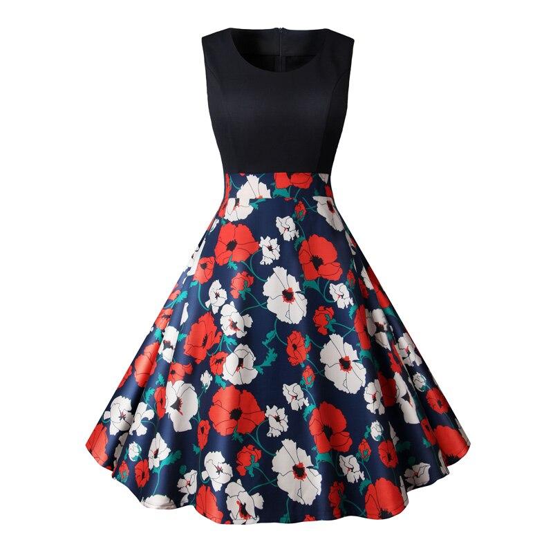 Floral Print Vintage Dress Women Summer Pin Up Elegant Party Dresses 50s 60s Rockbility Robe Plus Size A-Line Office Vestidos