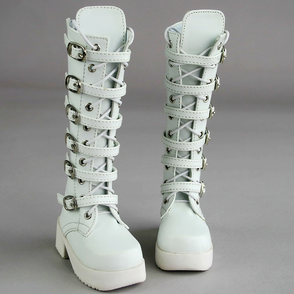 [wamami] 16# White Synthetic Leather Boots/Shoes For 1/4 MSD AOD DOD DZ BJD Doll