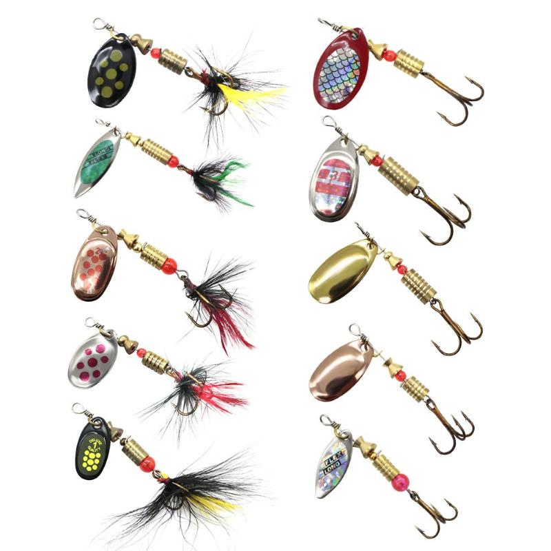 Friendly 10pcs/set Colored Bionic Fishing Lures Fishing Tackles With Piercing Treble Hook Sequins Spinner Artificial Swimbaits Tools Fishing Lures