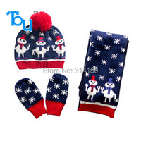 Tou 2015 Baby Hats Suit Infant Children 3pcs Set Cartoon Hat Scarf Knitted Gloves Suit Cute
