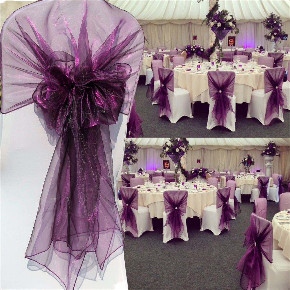Purple Organza Chair Cover Hood Sashes 65 275cm For Wedding Event Party Home Banquet Decoration 20pcs Free Shipping In From Garden