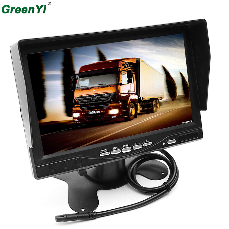 GreenYi 7 Inch High Resolution 800*480 TFT Color LCD Car Rear View Camera Monitor Support Rotating The Screen With 2 AV Inputs high resolution 5 colorful screen tft lcd car rearview mirror monitor 800 480 resolution dc 12v car monitor for dvd camera vcr