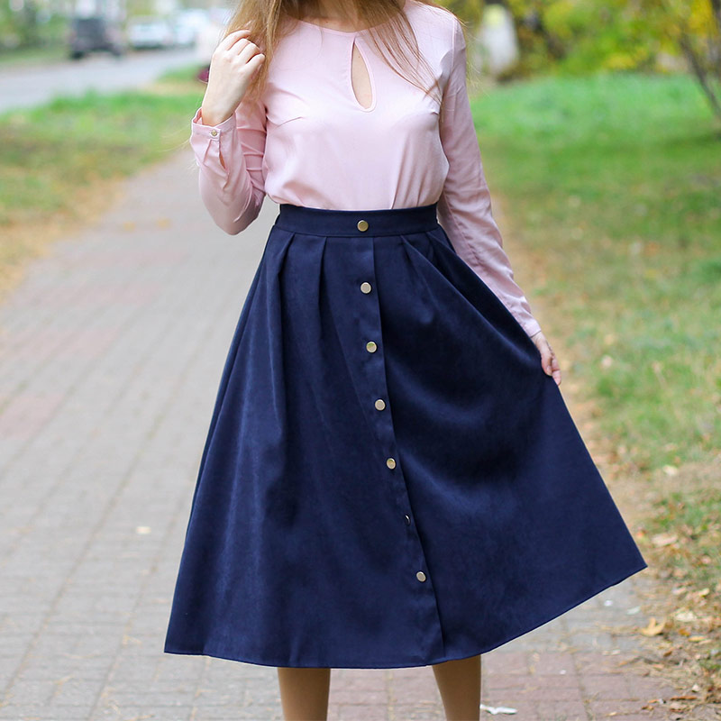 HDY Haoduoyi Pleated Skirts Button High Waist Elastic Mid Skirt Korean Style Women Skirts Fashion New 2018 Autumn Winter Bottom 8