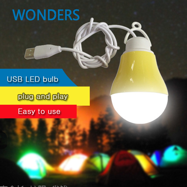 4pcs/lot 5W USB LED bulb portable usb light bulb energy conservation Emergency light camping hiking