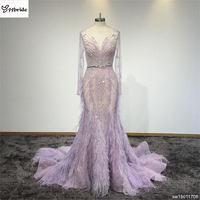 New Arrival Dress Radiant Orchid Lace Beading Evening Gown Long Sleeves Prom Dress Mermaid Chapel Train Evening Dress