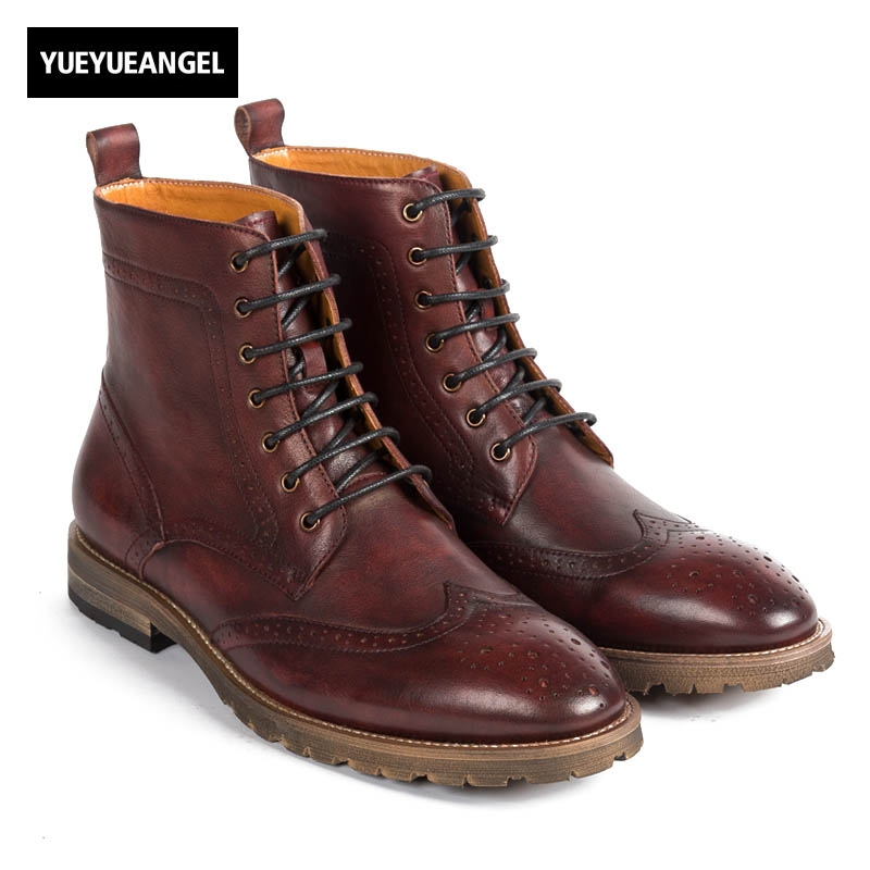 Hot Sale Top Quality Brand Men New Fashion Genuine Leather Low Heel England Style Brogue Matin Boots Lace UP Wing Tip Wine Red hot sale brand new high quality safer body fitness building pro circle chin up system gravity inversion boots