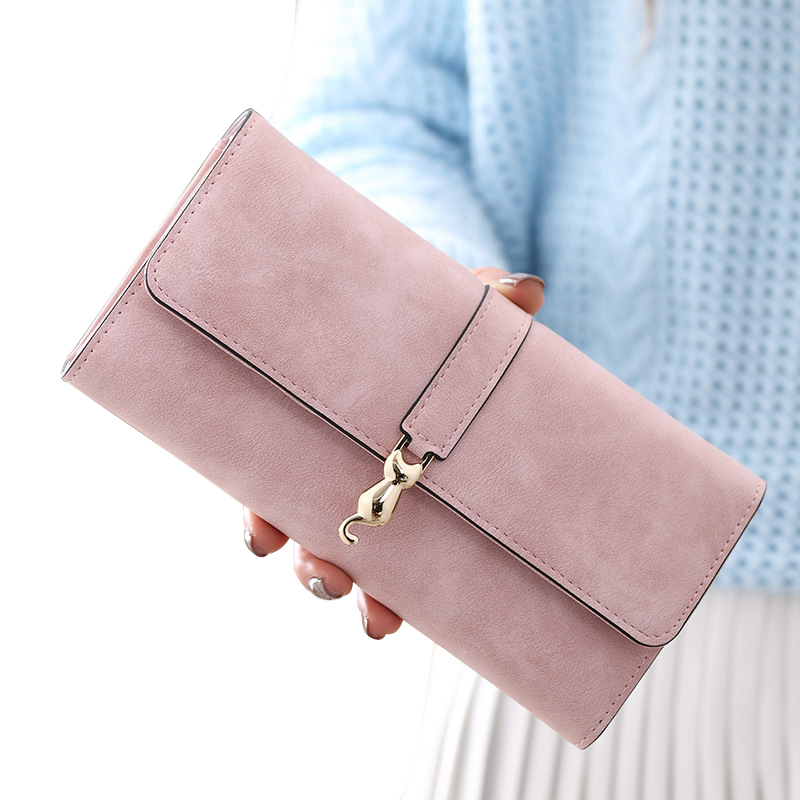 Wallet Female Coin Purses Leather Wallet Women Clutch Card Photo Holder Printing Long Solid Fashion Scrub Leather Women Purse long women wallet casual female wallet bags purses ladies clutch bag coin purse card holder female purses for cell phone
