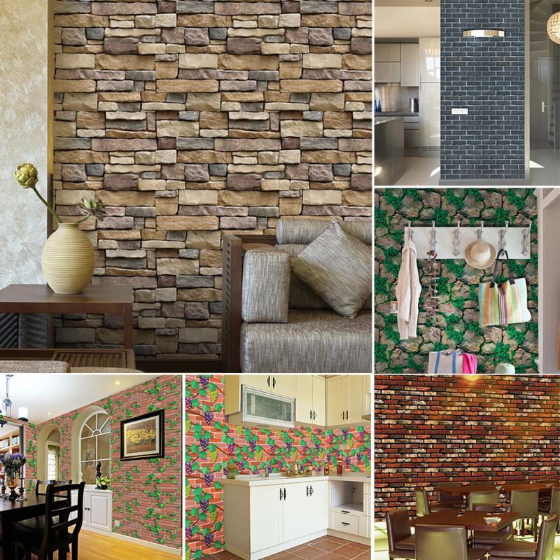 Vintage brief wall sticker wall bricks pattern self for Waterproof wallpaper for bedrooms