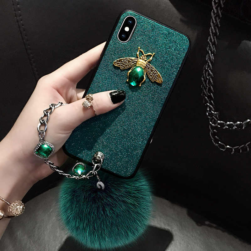 brand new f48da ed894 Diamond Luxury Brand Bee Case with Jewel Hand Strap Fur Ball Case for  Iphone XS MAX Case for Iphone XR X 8 7 6 6S Plus Case Back