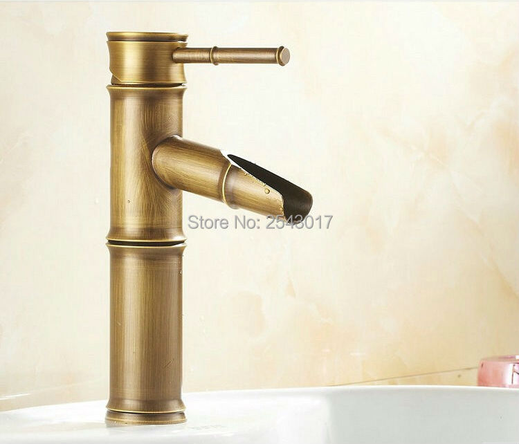 Bathroom Bamboo Faucet Antique Vintage Finish Copper Sink Mixer Tap Deck  Mounted Hot And Cold Water ZR134