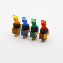3pcs Car modification switch ASW-14D switchboard rocker switch 12VDC 20A yellow / green red / blue