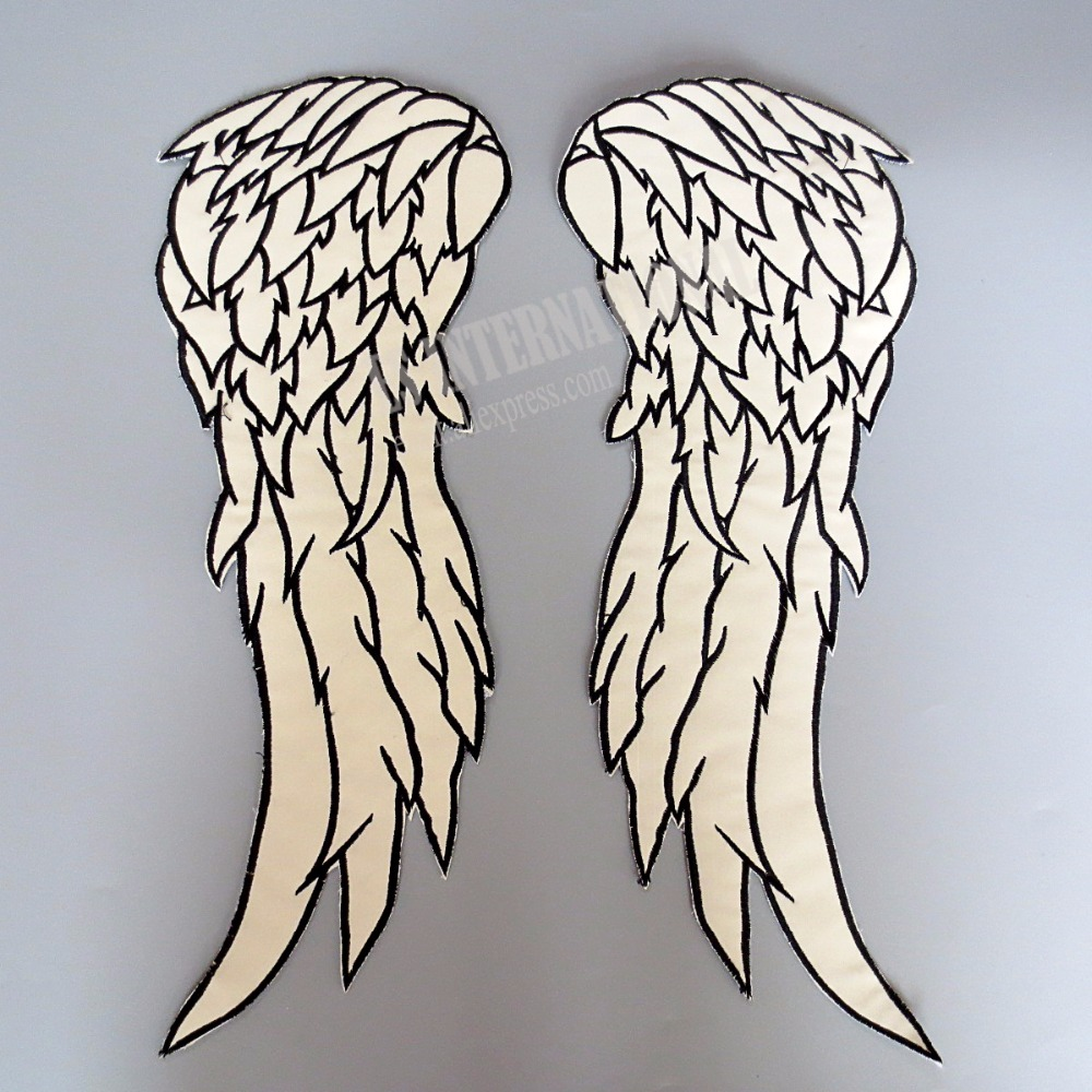 18 inches <font><b>Angel</b></font> Wings large Embroidery <font><b>Patches</b></font> for Jacket back Motorcycle <font><b>Biker</b></font> reflective cloth image