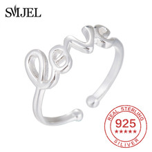 SMJEL Forever Love Rings for Women Silver 925 Jewelry Eternity Letter Couple Ring 100% Sterling Bague Anel