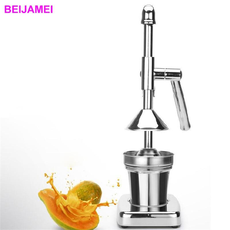 цена BEIJAMEI stainless steel manual orange lemon pomegranate juice extractor hand pressed citrus juice squeezer machine price