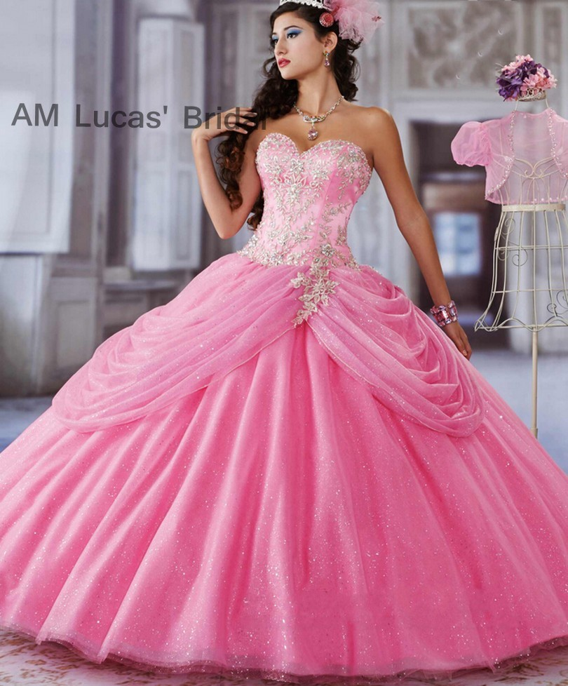 8dbf155a41e Pink 2017 Quinceanera Dresses Ball Gown Embroidery Sparkly Skirts For 15  Years Vestido De Debutante Sweet 16 Ball Gowns